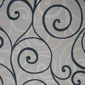 scroll black on biege fabric
