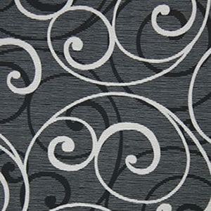 scroll black white fabric